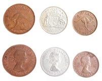 Moeda de um centavo 1963 do Australian, meia moeda de um centavo e florim fotografia de stock