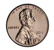 Moeda de um centavo 2011 de Estados Unidos Imagem de Stock