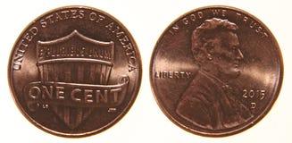 Moeda de um centavo americana desde 2015 Fotografia de Stock