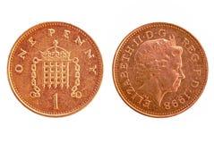 Moeda de um centavo BRITÂNICA - ambos os lados Foto de Stock Royalty Free