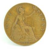 Moeda de um centavo de Inglaterra. Foto de Stock