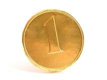 Moeda de um centavo do ouro do chocolate Foto de Stock