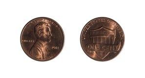 Moeda de um centavo em um fundo branco imagem de stock royalty free