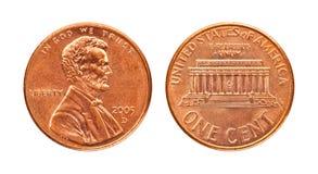Moeda de um centavo isolada foto de stock