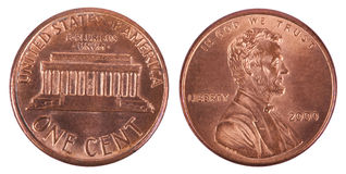 Moeda de um centavo isolada - ambos os lados frontais Imagens de Stock Royalty Free