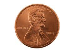 Moeda de um centavo isolada dos E.U. Foto de Stock Royalty Free