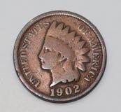 Moeda de um centavo 1902 principal indiana do Estados Unidos Imagens de Stock