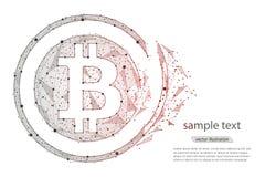 Moeda digital da moeda de Bitcoin do colapso abstrato do projeto isolado do baixo wireframe poli no fundo branco polygonal Fotografia de Stock