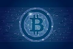 Moeda digital da moeda de Bitcoin fundo da rede do cyber isolado do baixo wireframe poli Imagem poligonal abstrata do vetor Fotos de Stock Royalty Free