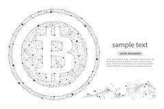 Moeda digital da moeda de Bitcoin isolado do baixo wireframe poli no fundo branco Imagem poligonal abstrata do vetor Foto de Stock Royalty Free