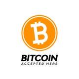 A moeda digital do bitcoin dourado, aceitada aqui text Fotos de Stock Royalty Free