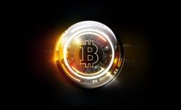 Moeda digital do bitcoin dourado, dinheiro digital futurista, conceito mundial da rede da tecnologia, ilustração do vetor ilustração do vetor