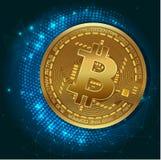 Moeda digital do bitcoin dourado, dinheiro digital futurista, conceito mundial da rede da tecnologia, ilustração do vetor ilustração royalty free