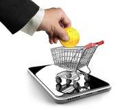 Moeda digital do ponto de interrogação com o carrinho de compras no pohne esperto Fotos de Stock