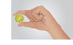 Moeda à disposição Dedos que guardam o dólar do ouro Foto de Stock