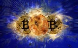 Moeda do bitcoin do ouro Foto de Stock Royalty Free