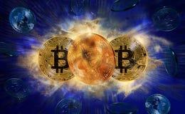 Moeda do bitcoin do ouro Fotos de Stock