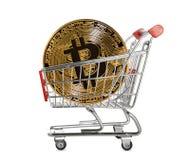 Moeda do bitcoin do ouro Imagens de Stock Royalty Free