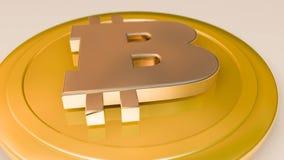 moeda do bitcoin do ouro 3D que descansa no assoalho ilustração do vetor