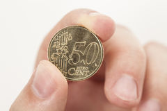 Moeda do centavo de Euro 50 Fotografia de Stock