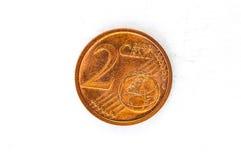 A moeda do centavo de Euro 2 com parte traseira alemão usou o olhar Fotografia de Stock