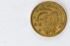 A moeda do centavo de Euro 50 com a parte traseira de Espania Cervantes usou o olhar Foto de Stock