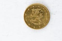 A moeda do centavo de Euro 10 com parte traseira finlandesa usou o olhar Imagens de Stock Royalty Free