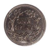 1 moeda do centavo, Estados Unidos isolada sobre o branco Fotografia de Stock Royalty Free