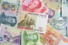 Moeda do chinês e do russo Imagens de Stock