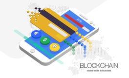 Moeda do cryptocurrency do blockchain da ilustração ilustração stock