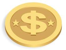 Moeda do dólar do ouro Ilustração do Vetor