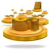 Moeda do dólar do ouro ilustração royalty free