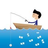 Moeda do dólar do uso da pesca do homem de negócios para travar o negócio c da cédula ilustração royalty free