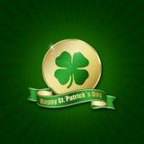 Moeda do dia de St Patrick com cumprimento Fotos de Stock Royalty Free