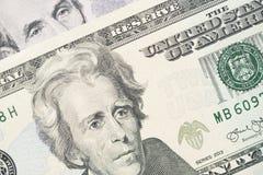Moeda do dinheiro de 20 cédulas do dólar do Estados Unidos Fotos de Stock Royalty Free