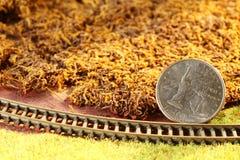 A moeda do dinheiro pôs sobre a cena modelo diminuta do modelo da estrada de ferro fotografia de stock royalty free