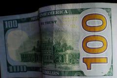 Moeda do Estados Unidos cem dólares americana Vagabundos novos de Bill Imagem de Stock Royalty Free