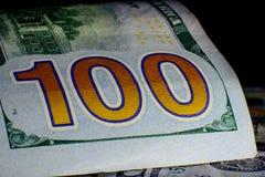 Moeda do Estados Unidos cem dólares americana Vagabundos novos de Bill Fotos de Stock Royalty Free
