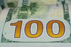 Moeda do Estados Unidos cem dólares americana Vagabundos novos de Bill Imagem de Stock