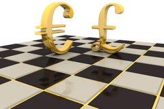 Moeda do euro da libra do ouro Fotografia de Stock Royalty Free