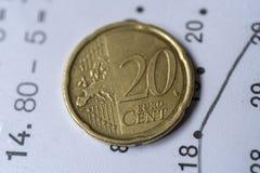 moeda do euro de 20 centavos Fotos de Stock Royalty Free