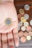 Moeda do Euro disponível Fotografia de Stock