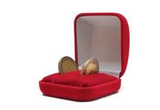 Moeda do euro dois na caixa de jóia Imagens de Stock