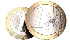 A moeda do Euro em uma parte dianteira e em uma parte traseira brancas do fundo de alta qualidade, 3D de alta resolução rende Foto de Stock Royalty Free