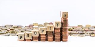 A moeda do Euro inventa a construção de uma escala sobre que são os cubos de madeira situados que formam os lucros da palavra e a Fotos de Stock Royalty Free