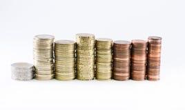 A moeda do Euro inventa a formação dos cilindros do comprimento diferente Imagem de Stock