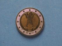 moeda do euro 2, União Europeia, Alemanha Fotografia de Stock