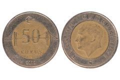 moeda do kurus de 50 turcos Imagens de Stock Royalty Free