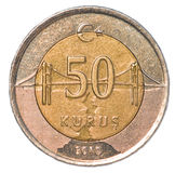 moeda do kurus de 50 turcos Foto de Stock