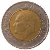 Moeda do kurus de 50 turcos, 2009, cara Foto de Stock